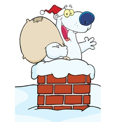 Christmas Santa Polar Bear In A Chimney vector image