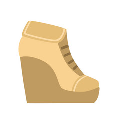 female brown wedge bootie isolated footwear flat vector image vector image