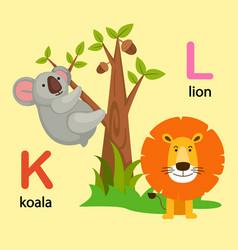 isolated alphabet letter k-koala l-lion vector image vector image