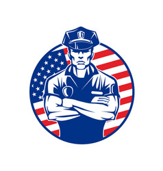 policeman in uniform wearing a cap on the vector image vector image