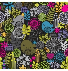 Seamless pattern with birds and pretty flowers vector image