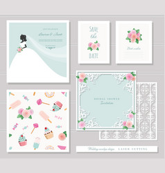 wedding templates set elegant cutout envelope vector image vector image