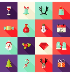 Christmas Square Flat Icons Set 2 vector image