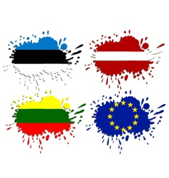 Flags of Baltic as spots vector image