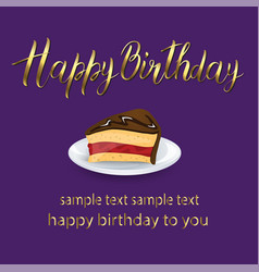 happy birthday lettering card with cake and gold vector image