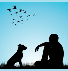 man and his dog sitting on grass vector image