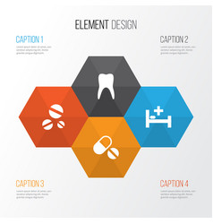 medicine icons set collection of cure dental vector image vector image