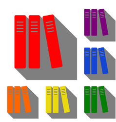 row of binders office folders icon set of red vector image