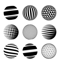 Set of black abstract sphere vector image vector image