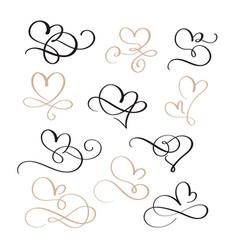 set of flourish calligraphy vintage hearts vector image vector image