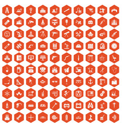 100 equipment icons hexagon orange vector