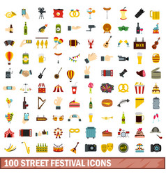100 street festival icons set flat style vector image