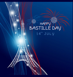 14 july bastille day paris design with firework vector image