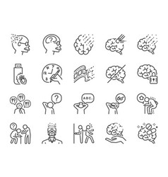 alzheimer line icon set vector image