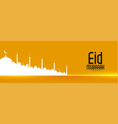 Attractive eid festival banner with mosque vector