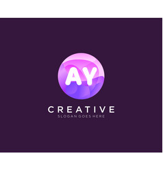 Ay initial logo with colorful circle template vector