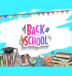 Back to school colorful text design with colorful vector