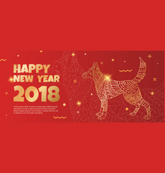 Banner with a gold dog on a red background vector