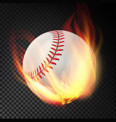 Baseball on fire burning style vector