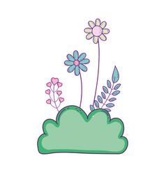 Beautiful garden bush with flowers scene vector