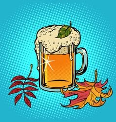 beer foamy oktoberfest autumn vector image