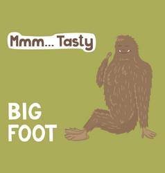 Bigfoot creature cute big monster design vector