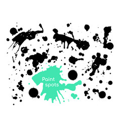 black paint spots - set decorative design vector image
