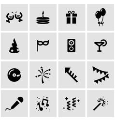 Black party icon set vector