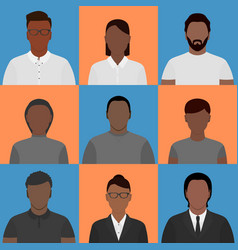 Black people profile pictures vector