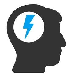 Brain Electric Shock Flat Icon vector