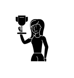 business champion black icon sign on vector image