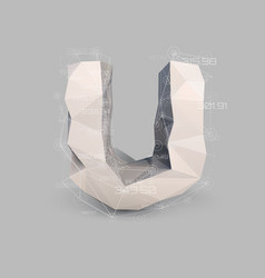 capital latin letter u in low poly style vector image