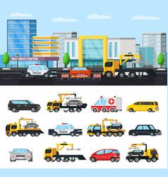 Car evacuation elements concept vector