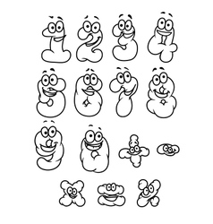 Cartoon digits and numbers set vector