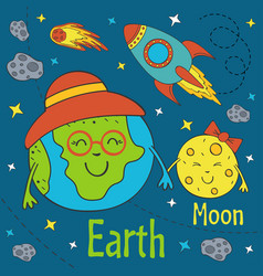 Cartoon funny earth with moon vector