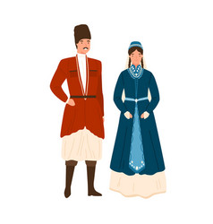 caucasian couple in traditional apparel vector image