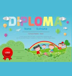 Certificates kindergarten diploma certificate kid vector