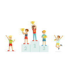 children standing on award places and kids jumping vector image