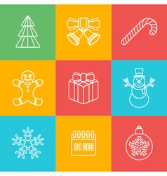 christmas outline icon set on colored back vector image