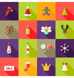 Christmas Square Flat Icons Set 3 vector image
