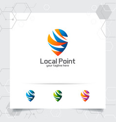 City locate logo with concept abstract pin map vector