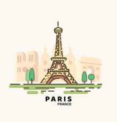 city paris in outline style on white vector image
