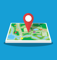 city suburban map with marker vector image vector image
