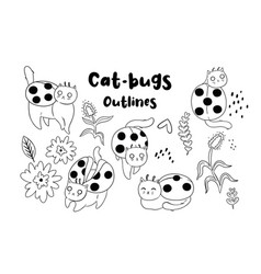 Collection cat-beetles outlines on white vector