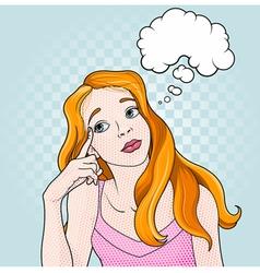 comic girl thinking vector image