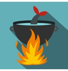 Cooking fish soup on a fire icon flat style vector