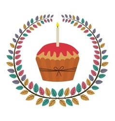 Crown of leaves with cupcake with red cream and vector