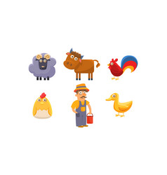 cute farm animals and male farmer ram sheep vector image