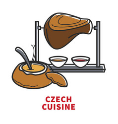 Czech cuisine promotional poster with coup and vector
