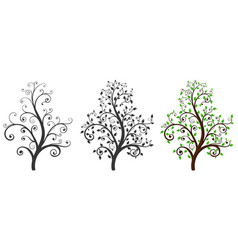 decorative trees with and without leaves vector image